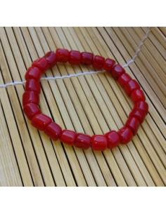 Bracelet corail reconstitué perles carrées 5 mm
