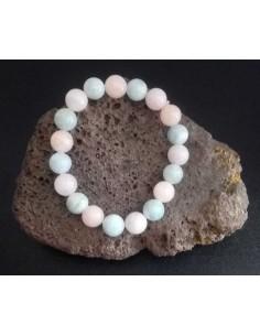 Bracelet pierres boules mélangées quartz rose et aigue-marine