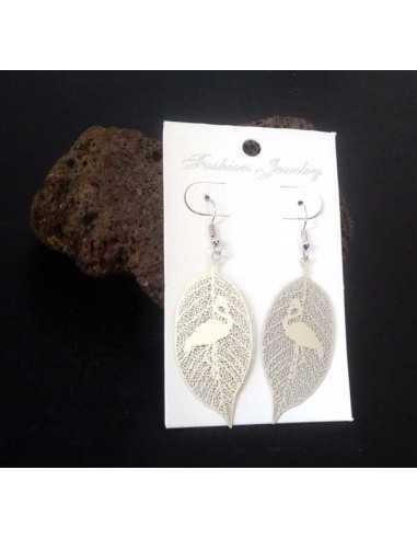 Boucles d'oreilles feuilles motif cygne