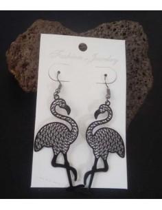 Boucles d'oreilles cygnes filigranes pendantes