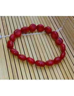 Bracelet corail reconstitué perles rondes plate 8 mm