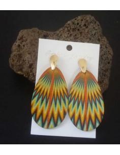Boucles d'oreilles gouttes en bois motifs dégradé de couleur