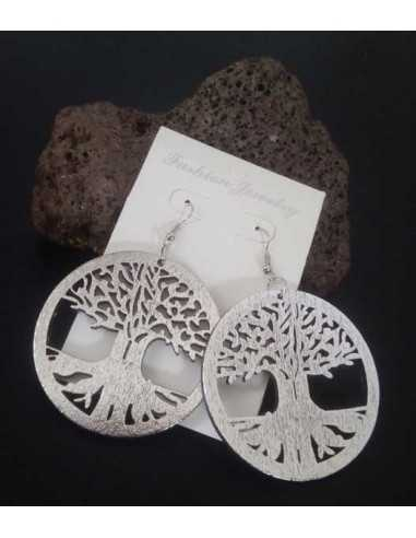 Boucles d'oreilles en bois motif arbre