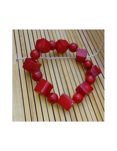 Bracelet corail reconstitué perles géométriques