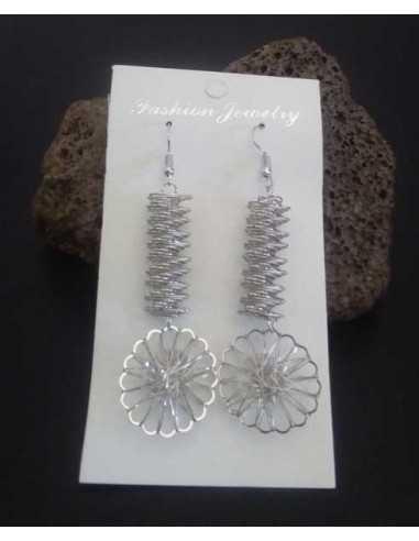 Boucles d'oreilles pendantes avec fleur et strass incrusté