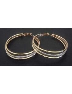 Boucles d'oreilles créoles pailletées 3 anneaux 7 cm