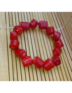 Bracelet corail reconstitué perles carré 1 cm
