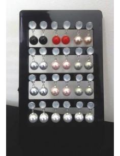 12 paires de boucles d'oreilles perle pendantes avec support