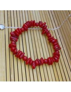 Bracelet corail reconstitué perles difformes