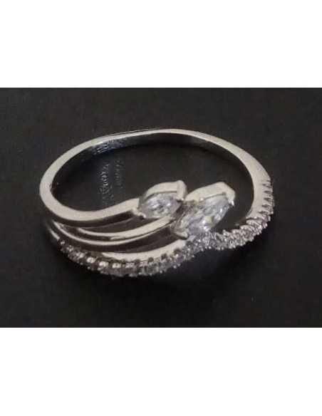 Lot de 12 bagues anneaux et épis zirconiums tailles 16 à 20