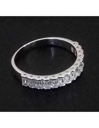 Lot de 12 bagues anneaux serties à moitié de zirconiums tailles 16 à 20