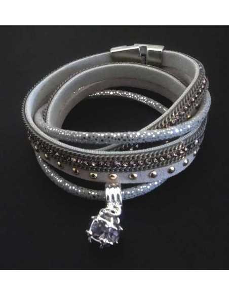 Bracelet double tour en cuir avec pendant cristal