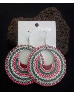 Boucles d'oreilles créoles motifs mandalas couleur