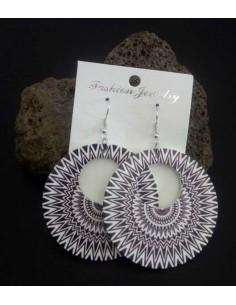 Boucles d'oreilles créoles motifs mandalas géométriques