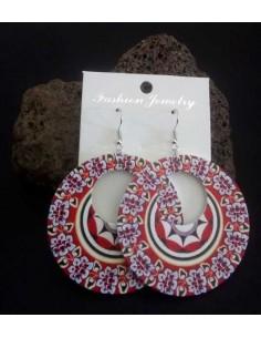 Boucles d'oreilles créoles pvc motif fleurs
