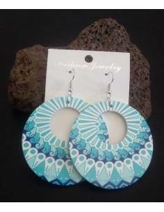 Boucles d'oreilles créoles fantaisie pvc bleue motif mandala
