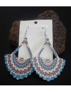 Boucles d'oreilles pendantes pvc motif bohème chic