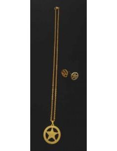 Parure acier collier pendentif étoile et boucles d'oreilles