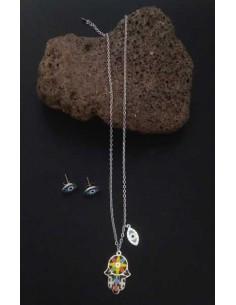 Parure acier inoxydable collier pendentif main de fatma & oeil à motifs