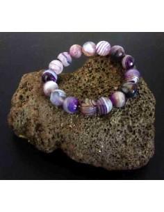 Bracelet agate violet pierres boules 12 mm