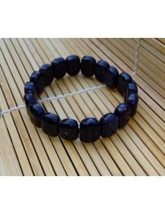 Bracelet ovale 1.5 cm pierre du soleil naturelle noire