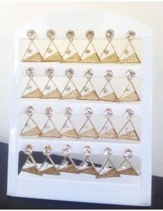 12 paires de boucles d'oreilles triangles tissés bambou et strass sur support