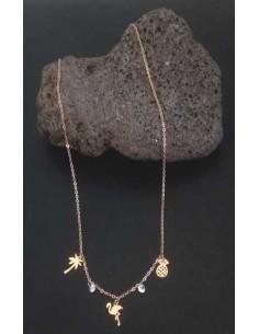 Collier acier inoxydable pendants palmier cygne ananas et zircons