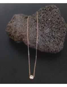 Collier acier gold pendentif zirconium