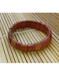 Bracelet carré pierre du soleil naturelle marron