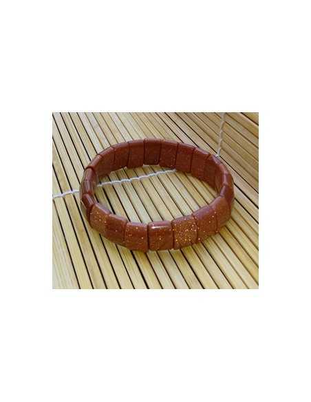 Bracelet pierre du soleil marron carré