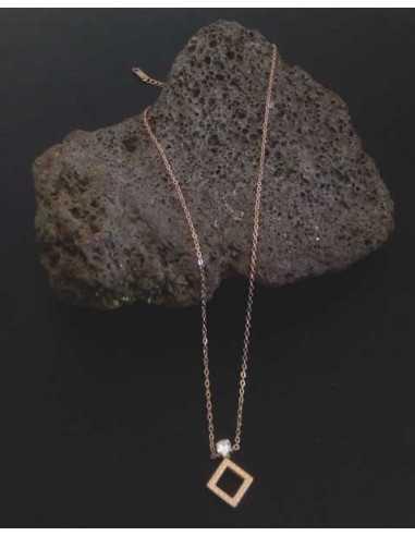 Collier acier inoxydable pendentif géométrique carré et zircon