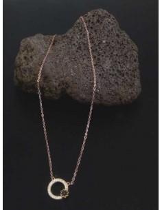 Collier acier inoxydable pendentif anneau serti et fleur noire