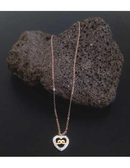 Collier acier gold pendentif coeur et infini