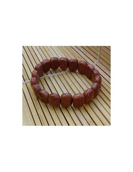 Bracelet pierre du soleil marron perles carrées arrondies