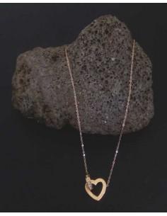 Collier acier inoxydable pendentif coeur et anneau serti enlacés