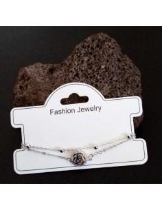 Bracelet fantaisie pendentif fleur et zircon