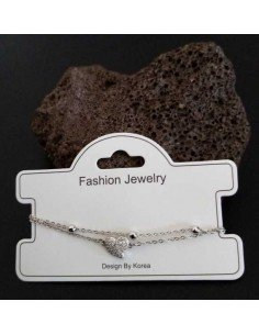 Bracelet fantaisie pendentif coeur et zircon