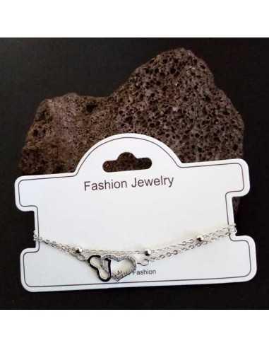 Bracelet fantaisie pendentif double coeur et zircon