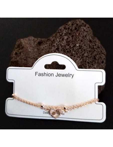 Bracelet fantaisie pendentif coeur love et zircon