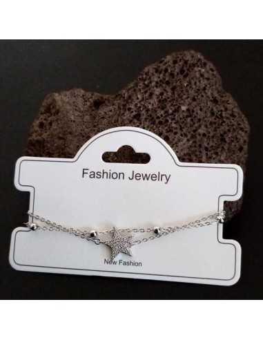Bracelet fantaisie pendentif étoile et zircon