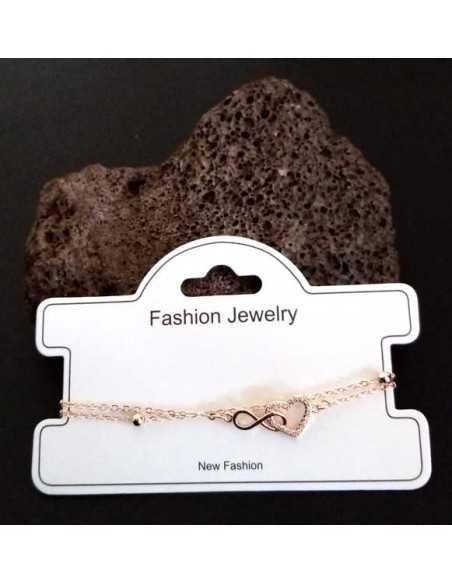 Bracelet fantaisie pendentif coeur et infini
