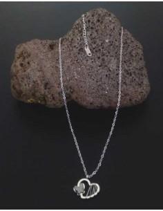 Collier acier inoxydable pendentif coeur filigrane et papillon