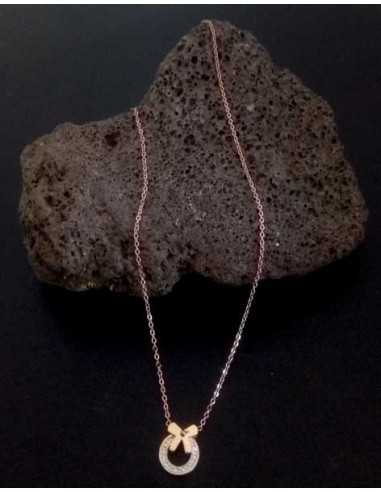 Collier acier inoxydable pendentif anneau serti et noeud
