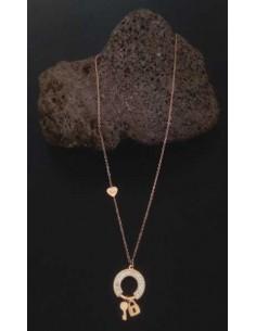 Collier acier inoxydable pendentif anneau serti et cadenas