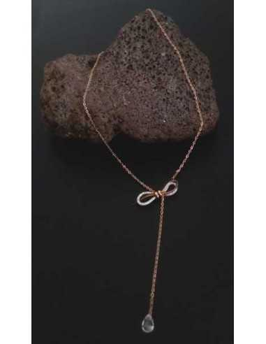 Collier acier inoxydable ras de cou pendentif noeud et goutte zircon