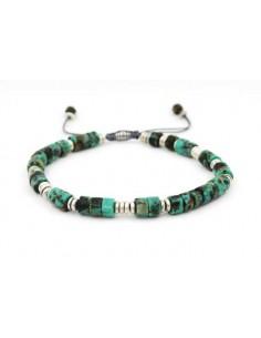 Bracelet véritables turquoises pierres 7 mm ajustable
