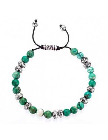 Bracelet turquoises véritables pierres boules 7 mm ajustable