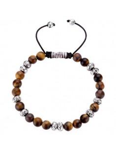 Bracelet oeil de tigre ajustable pierres boules 7 mm