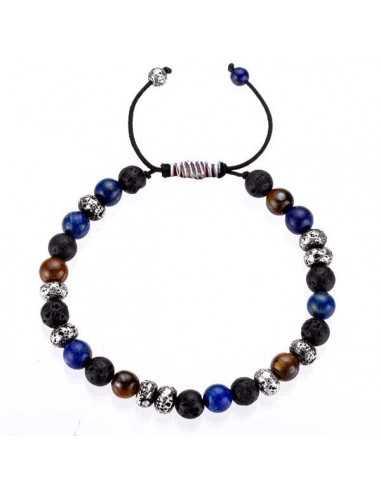 Bracelet ajustable oeil de tigre et lapis-lazuli pierres boules 7 mm