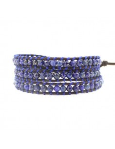 Bracelet lapis-lazuli multi-tours pierres naturelles 4 mm
